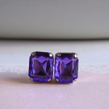 Old Hollywood Style Studs Earrings - Purple Stone, Faux Gems Earrings
