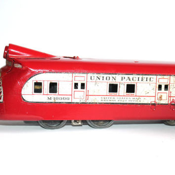 Antique 1930s Marx Tin Litho Red Train Union Pacific, Vintage Toys Collectible, Antique Alchemy