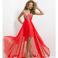 (PRE-ORDER) Blush 2014 Prom Dresses - Persimmon Strapless Chiffon High-Low Prom Dress