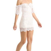 WHITE OFF THE SHOULDER FLORAL LACE DRESS
