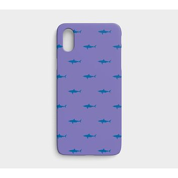 Shark Cell Phone Case iPhone X / XS - Blue on Purple