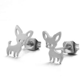 Charm Stainless steel Cute Golden & Silver Chihuahua Earrings for women Fashion Animal Dog Stud Earrings & Dog lovers 2018