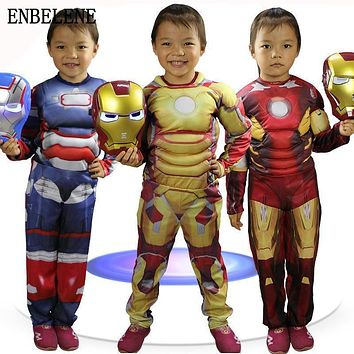 baby boys girls iron man costume set 2pc for children jumsuit luminous mask gold red kids halloween avengers clothes suit FD183