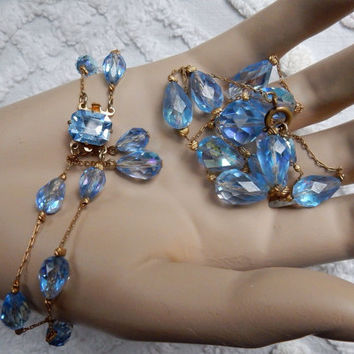 Gorgeous Czech Glass Aurora Borealis Crystal Necklace and Bracelet set 1940s Art Deco Style Jewelry Set