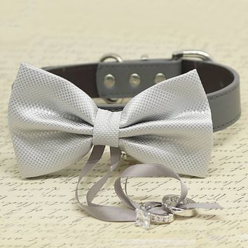 Silver Dog Bow Tie Collar, Ring Bearer, Pet Wedding, Proposal
