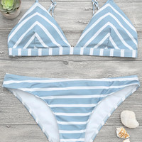 Stripe 2 Piece Triangle Bikini Set - NOVASHE.com