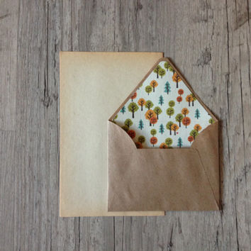 Crafted writing set - letter writing vintage paper -eco friendly recycled kraft brown envelope - orange green rustic - europeanstreetteam