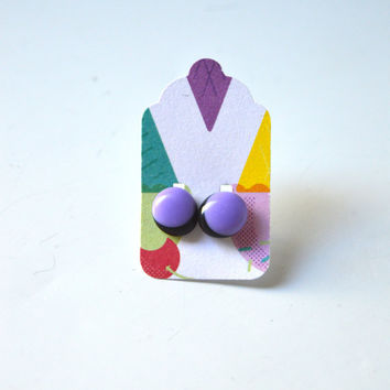 Stud Earrings - Pastel Lavender and Black Stud Earrings - Tiny Stud Earrings - Post Earrings - Colorful Earrings - Handmade Enamel Studs