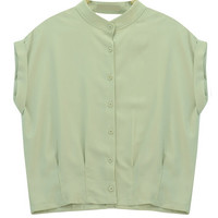 Buttoned Folded Sleeve Blouse