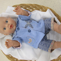 Exquisite hand made 15-16 inch doll jacket, trousers and top with embroidery and detail.