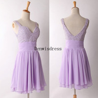 A-line Spagetti Straps Sweetheart Short Mini Chiffon Pearls Backless Purple Short Homecoming Cocktail Dresses