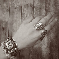 Bohemian Warrior ring - gypsy statement ring, Tibetan boho ring, Tibetan silver, Amulet ring - Tribal Antique Boho Tribal ethnic ring