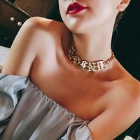 Fashion Personality Glossy Letter Necklace Chocker Clavicle Chain Women Accessories
