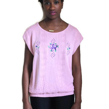 Vintage 80s Scoop Neck Sweater Pink Short Sleeves Flower Embroidered Flower Detail