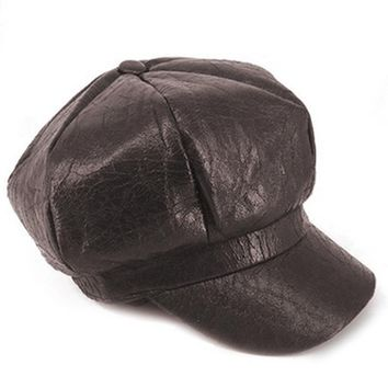 Brown Faux Leather Baker Boy Hat