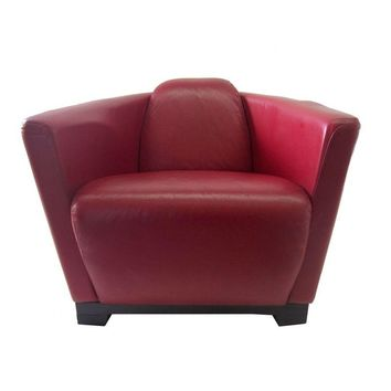 Pre-owned Vintage Red Vinyl Club Chair