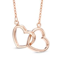 Interlocking Hearts Necklace in Sterling Silver and 14K Rose Gold Plate - 16