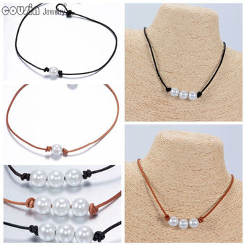 Pearl Leather Choker 2 styles Simulated Pearl Handmade leather Necklace set