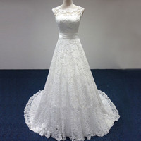 Cap Sleeve Lace Sashes A Line  White / Ivory Wedding Dresses FS087