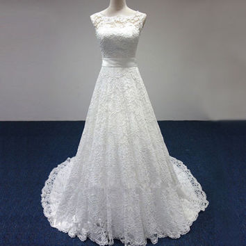Cheap Price ! 2015 New Free Shipping cap sleeve lace sashes A Line  White / Ivory Wedding Dresses FS087
