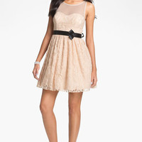 Way-In Illusion Lace Fit & Flare Dress (Juniors) | Nordstrom
