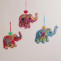 Embroidered Fabric Indian Elephant Ornaments -Set of 3 - World Market