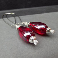 Red Drop Earrings:  Ruby Red and Silver Long Dangle Pierced Earrings, Holiday, Christmas, Valentine Jewelry, Under 20