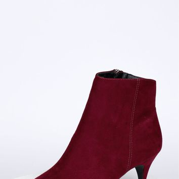 Pointed Suede Bootie Wine
