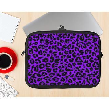 The Vibrant Violet Leopard Print Ink-Fuzed NeoPrene MacBook Laptop Sleeve