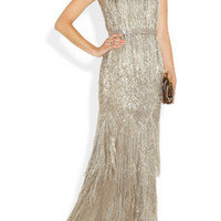 Oscar de la Renta | Beaded metallic silk-blend gown | NET-A-PORTER.COM