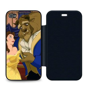 Beauty and the Beast Cartoon Leather Wallet Flip Case iPhone 4 | 4S