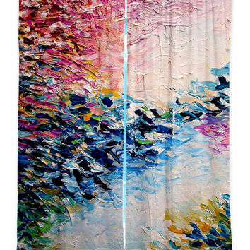 PARADISE DREAMING Pastel Pink Blue Fine Art Window Curtains Multiple Size Abstract Painting Decor Bedroom Kitchen Lined Unlined Woven Fabric