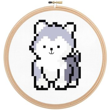 Dog Cross Stitch Pattern - Husky Puppy Cross Stitch Pattern