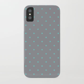 Small Aqua Polka Dots with Grey Background by CoolFunAwesomeTime