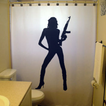 Unique Shower Curtain Sexy Pinup Girl nude naked gun rifle ak47 m16 ar15