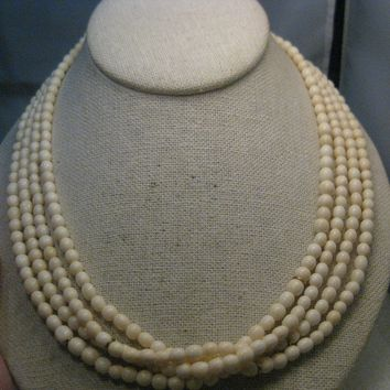 "Vintage Multi-Strand White Beaded Necklace, 19"", Gold tone"