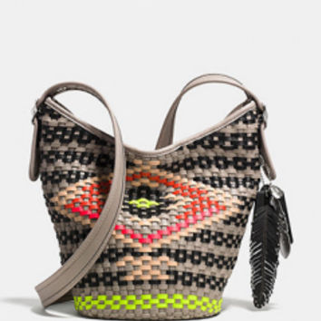 Coach Mini Duffle Crossbody In Dreamweave Woven Leather