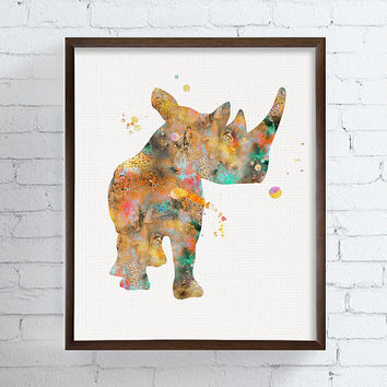 Rhino Art Print, Rhinoceros, Rhino Watercolor Print, Rhino Poster, African Animals, Safari, Wildlife, Nursery Art, Kids Prints, Childrens