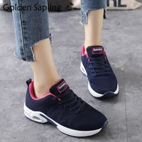 Golden Sapling Women Tennis Shoes Breathable Women's Sneakers Fitness Air Mesh Fabric Rubber Women's Sport Shoes Wedge Sneakers