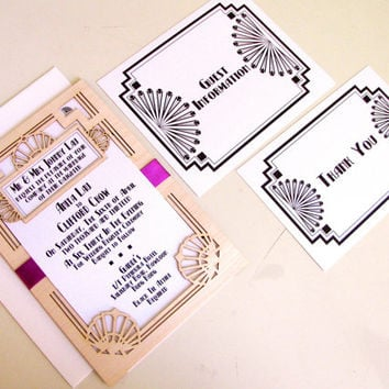 Great Gatsby Wedding Invitation and Response Card: Laser cut Wood Broadway Art Deco Wedding Invitation - DEPOSIT LISTING