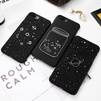 Fashion Space Phone Case For iPhone 6 6S 7 8 Plus 5 5S SE X XS Max XR Case Planet Moon Star Back Cover Hard PC For iPhone 7 8 6