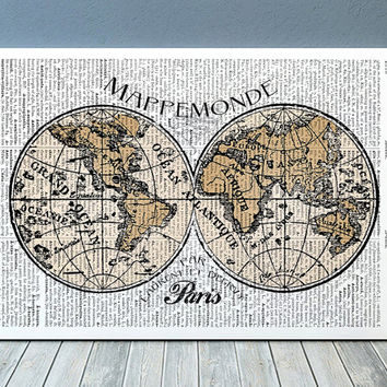 Wolrd map print Travel art Vintage poster Antique print RTA1108
