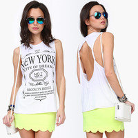 White New York  Graphic Print Cutout Back Tank Top