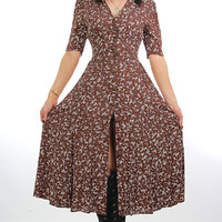 90s floral grunge dress button up midi  short sleeve