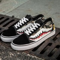 Trendsetter VANS x BAPE Print Old Skool Flats Men Sneakers Women Sport Shoes