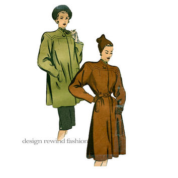 1940s SWAGGER COAT PATTERN High Collarless Neck, Flared Back Swing Coat Bust 34 Hollywood Patterns 1905 Women's Vintage Sewing Patterns
