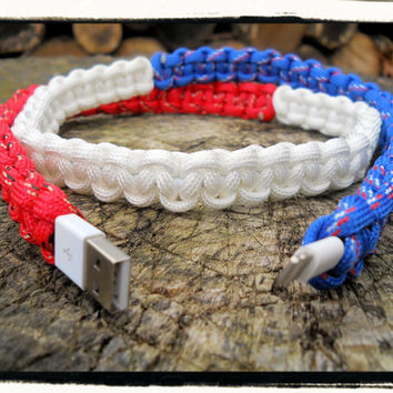 USA Flag iPhone Paracord Wrapped Charger
