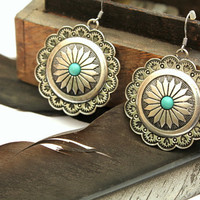 Vintage inspired Native Dangle silver earrings/Bohemian/Navajo/Arizona/Native American/Southwestern/Free people style