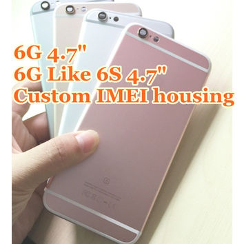 Custom IMEI Full chassis For iphone 6 iphone6 fundas Back housing 6 6g cover battery door Rose Golden Like 6s +tracking