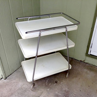 Stylish Metal Kitchen Utility Rolling Cart, 3 Tier with Glitter or Sparkle filled Wheels - A Great Piece to Refinish or Use as is